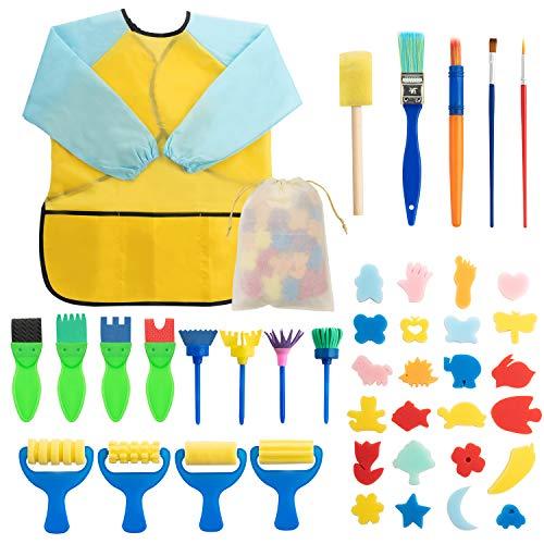 Surplex Kit di 42 Strumenti educativi Spugna da Pittura per Bambini, Apprendimento Precoce Spugna Kit di pennelli per Pittura per Bambini Spazzole Pittura Fai da Te Pennelli Artigianali e Grembiule
