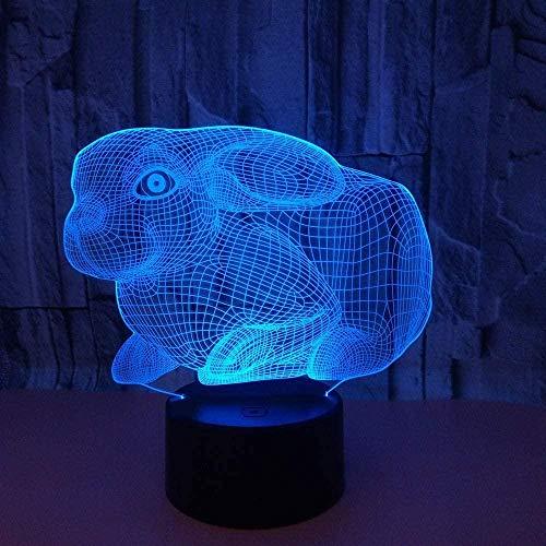 Lámpara de ilusión óptica 3D Cute Animal Bunny LED Night Light Toy 16 Lámpara de mesa USB que cambia de color con control remoto o táctil El mejor regalo de cumpleaños de Navidad para niños