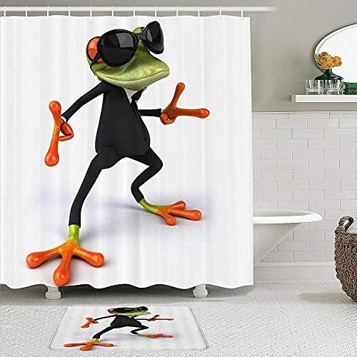 PUNKDBOTTO Decoración de baño, rana de dibujos animados con gafas de sol, cortina de ducha de poliéster impermeable para baño, regalo de inauguración de la casa,