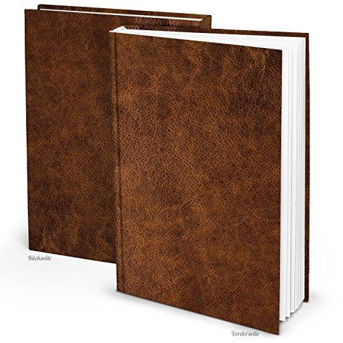 XXL Notizbuch DIN A4 Tagebuch Gästebuch Rezept-Buch gebunden Leder-Nostalgie-Look braun alt wirkend vintage, Kochbuch Blankobuch - eigene Geschichte selber-schreiben leer ohne alles