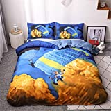 Juego de funda de edredón de 3 piezas, diseño de parapente decorativo, funda de edredón y fundas de almohada, transpirable, sin sábana