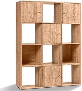 IDMarket - Meuble de Rangement Cube 12 Cases Bois façon hêtre avec 3 Portes