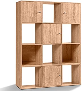 IDMarket - Meuble de Rangement Cube Rudy 12 Cases Bois façon hêtre avec Portes