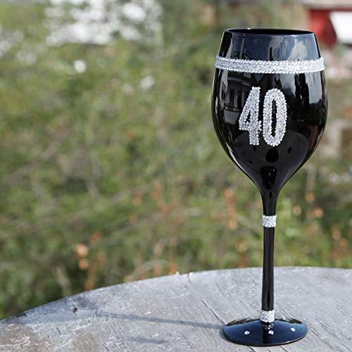 Framan Copas de Vino Color Negro con números para Celebraciones y Cumpleaños. Copa de 40 años Negra