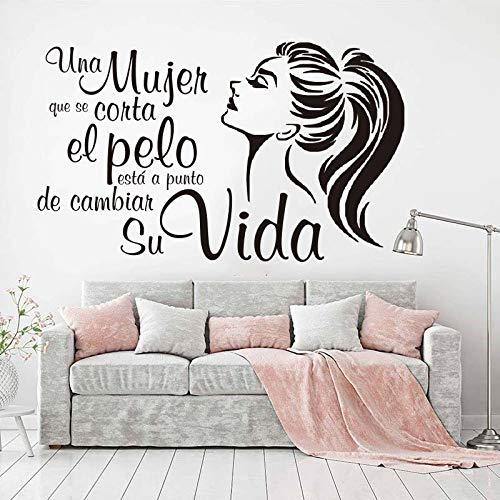 fdgdfgd Espagnol Femme Coupe de Cheveux Change sa Vie Autocollant Mural de Salon de beauté Femme Cheveux Ongles Salon de beauté Sticker Mural Vinyle 56x94 cm