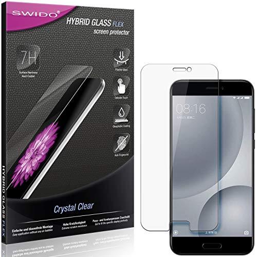 SWIDO Panzerglas Schutzfolie kompatibel mit Xiaomi Mi 5c Bildschirmschutz-Folie & Glas = biegsames HYBRIDGLAS, splitterfrei, Anti-Fingerprint KLAR - HD-Clear