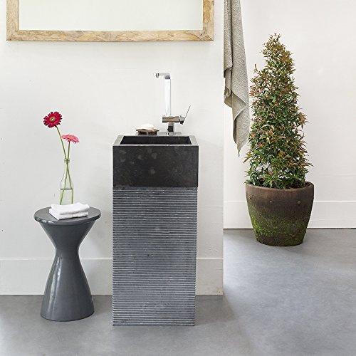 Preisvergleich Produktbild wohnfreuden Marmor Stand-Waschbecken Waschtisch Säule eckig gehämmert schwarz 40x40x90 cm