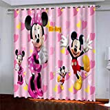 ZCFGG Kids Eyelet Blackout Curtains for Boys Girls Cartoon Mouse Mickey Eyelet Pencil Pleat Thermal Insulated Curtains 2 Panels Bedroom Super Soft 100% Polyester 2x 33 x 72 inch (WXD)