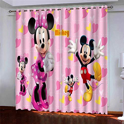 Kind 2er-Set Verdunkelungs Vorhang,Mickey Minnie pink Kinder Gardinen Ösen Gardine Thermo Polyester Schlafzimmer Vorhänge Dekoratives Muster Européen 160 x 140 cm (HxB)
