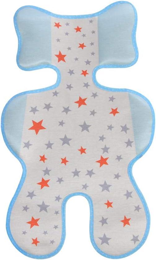 Greetuny 1X Seda de hielo de Cojín para Carrito de bebé Verano Fresco Colchoneta Recién nacido Transpirable Silla de Paseo (Azul)