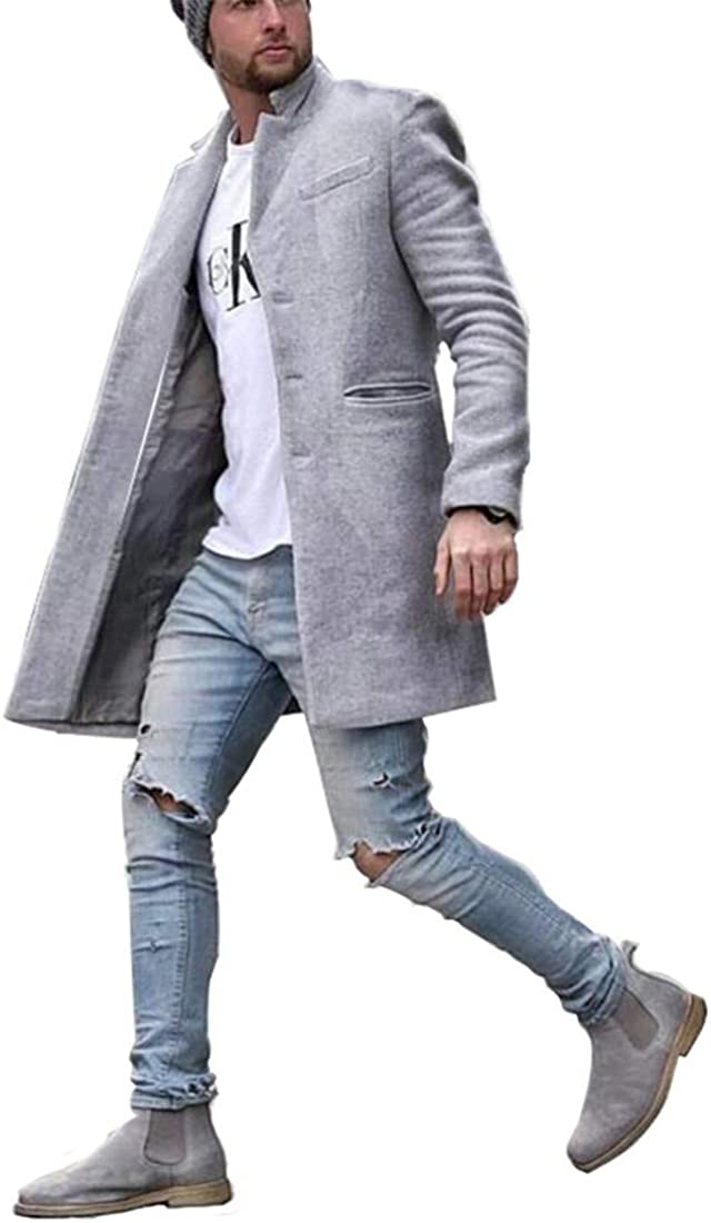 GESELLIE Men's Winter Fashion Woolen Blend Mid Length Single Bleasted Workout Slim Fit Trench Coat