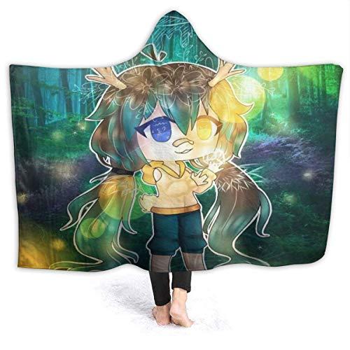"Hengtaichang Gacha Life Hooded Blanket Cape Wrap Super Soft Wearable Sherpa Fleece Throw Poncho Blanket 50""x40"",W127cm X L102cm"