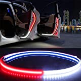 2 pcs Car Interior Door Welcome Light LED Safety Warning Strobe Signal Lamp Strip 120cm Waterproof 12V Auto Decorative Ambient Lights