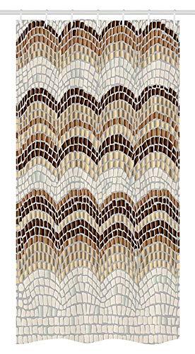 Beige Stall Duschvorhang Farbverlauf Farbige Mosaikwellen Einstellung Antike Roman Royal Datiert Retro Muster Stoff Badezimmer Dekor Set Mit Haken Beige BraunBeige Stall Shower Curtain Gradient Colore