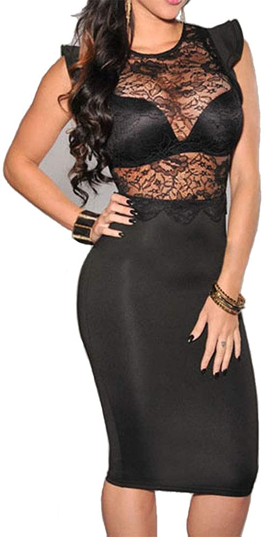 Red Dot Boutique 6473  Plus Size Sexy Sheer Mesh Crochet Lace Bodycon Club Dress Black