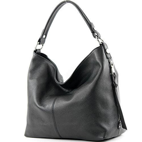 modamoda de Damen Schultertasche, Leder T160, Farbe:Schwarz