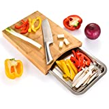 Cutting Board with Containers Sliding Stainless Steel Tray Drawer Bamboo for Kitchen Easy Waste Removal & Food Prep, Bamboo Chopping Board Wood Butcher Block