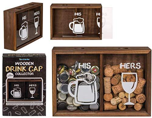 EuroDiscount Kronkorken Korken Sammler für Bier und Wein Flaschenverschlüssen mit Zwei Fächern HIS und Hers 1 Stück