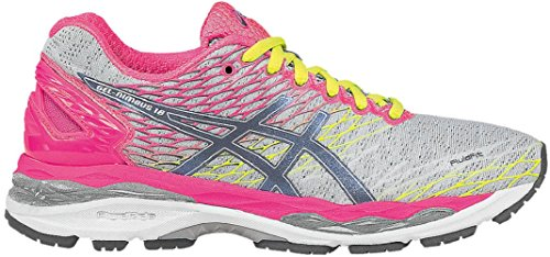 Asics Gel-Nimbus 18 Mujeres Running Trainers T650N Sneakers Zapatos (UK 3 US 5 EU 35.5, Silver Titanium Hot Pink 9397)