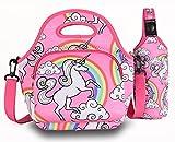 Bolsa de almuerzo para niños 7-Wed -Fiambrera infantil aislada Termoenfriador con portabotellas Reutilizable para picnics escolares Viaje de trabajo (unicornio rosa) ...