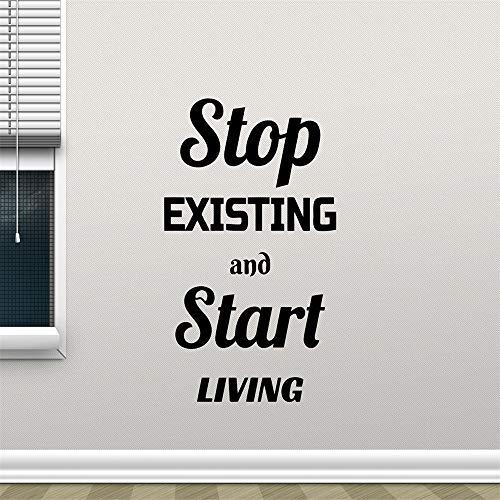 yiyiyaya Inspirierende Zitat Wall Decal Stop vorhanden und Start Living Family Home Regeln Kunst Aufkleber Motivation Zitate Decals Decor rot 68x42 cm