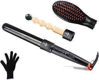 3-i-1 utbytbar hårlocktång + varm borste + hår rak borste