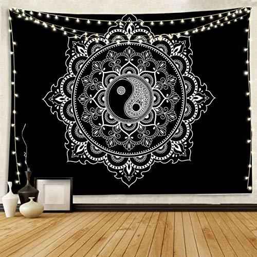 Tapiz de pared blanco y negro Mandala tapiz para colgar en la pared para dormitorio, sala de estar y dormitorio de 59 x 82 pulgadas