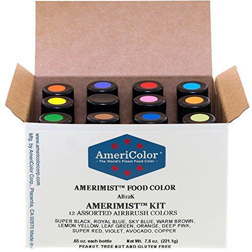 AMERICOLOR Food Coloring Airbrush Kit, 12 x 65 Ounce Bottles