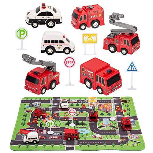 Kilpkonn Feuerwehr Rettungsfahrzeug Autos Spielzeug, 6 Feuerwehrautos, 4 Verkehrsschilder, Mini Auto Spielzeug zum Zurückziehen, Kindergeburtstag Spielpartys Geschenke