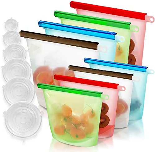 GREENSTO 14 Multipack Reusable Silicone Food Storage Bags 4 Large 4 Medium Silicone Bags 6 Bowl product image