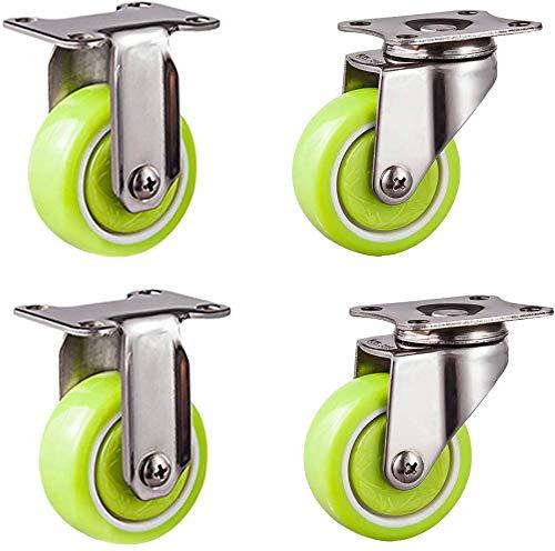 Set van 4 draaibare metalen plaat wielen hoge prestaties PU zwenkwielen Green Furniture Wheel 304 roestvrij staal beugel met 360 ° Cover Plaat laadvermogen 231 lb voor stoel tafel bloem 2in-vast+universeel