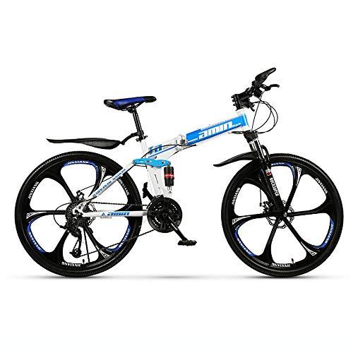 Augu Mountainbike Faltfahrrad 24 Gang Scheibenbremse 26 Zoll Räder Dual Suspension MTB für Männer und Frauen
