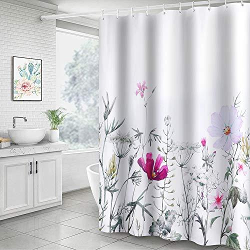 Didihou Floral Fabric Shower Curtain, Decorative Waterproof Bath Curtain Modern White Shower Curtain with 12 Hooks