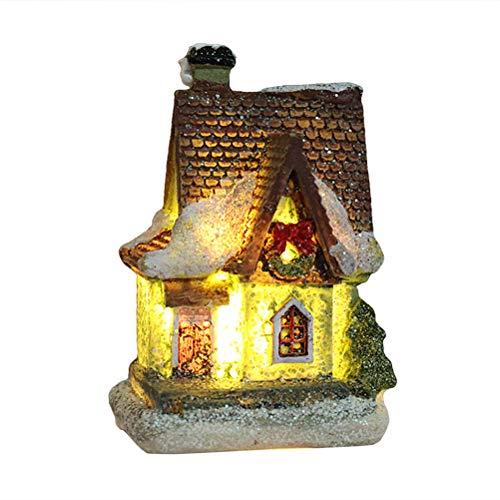 Oulian Weihnachtsdekoration Schneehaus, Beleuchtetes Weihnachtsstadt Weihnachtsdorf Harz Weihnachtsszene Village House Town mit LED-Licht Batteriebetrieben
