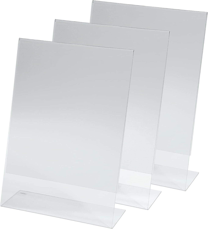 Sigel TA210 Conjunto de 3 soportes de sobremesa inclinados - Atriles de Mesa - con 6 Carteles preimpresos: Póngase una mascarilla, 30,2 x 21,3 x 7,8 cm, de acrílico, transparente