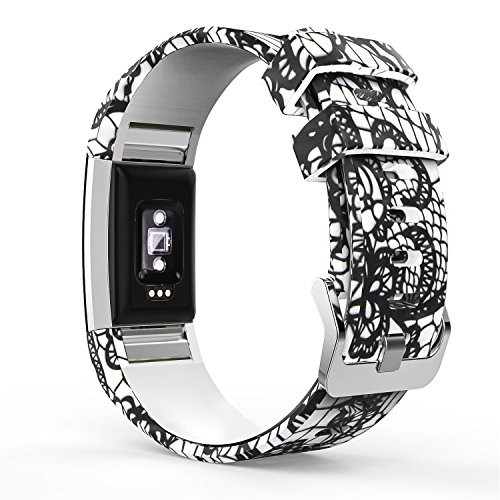 MoKo Armband für Fitbit Charge 2, [Muster Serie] Silikon Sportarmband Uhrenarmband Uhr Erstatzband Zur Herzfrequenz und Fitnessaufzeichnung, Schwarze Spitze