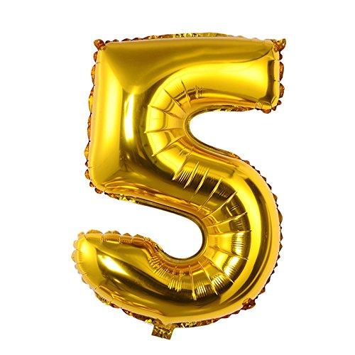 0–9Números Aluminum Foil Globos, 40, en oro y plata, para cumpleaños/boda decoración de fiesta, Dorado