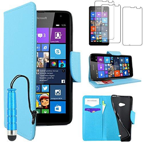 ebestStar - kompatibel mit Microsoft Lumia 535 Nokia Hülle Kunstleder Wallet Hülle Handyhülle [PU Leder], Kartenfächern, Standfunktion +Mini Stift +3 Schutzfolies, Blau [Phone: 140.2x72.4x8.8mm, 5.0