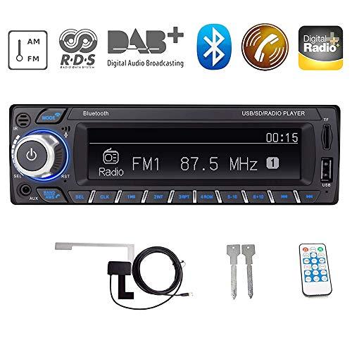 HiFi-geluidskwaliteit RDS/DAB/DAB + autoradio digitale audio autoradio met Bluetooth handsfree functie/BT + USB + TF kaart + AUX afspelen, FM/AM radio 1 DIN 12V met DAB + antenne/afstandsbediening