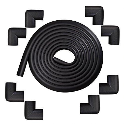 Little Sporter Protection de bord de table - Protection d'angle en forme de L - Protection des bords - Anti-collision - 2 m - Pour les jeunes enfants - Noir