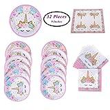 SUNSHINETEK Piatti e tovaglioli di Carta per Unicorno 32 Pezzi Forniture per Feste a Tema Set per Bambini Festa di Compleanno Baby Shower Serves (Fit 16 Guests)