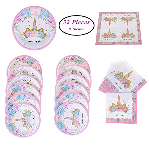 SUNSHINETEK Einhorn Pappteller und Servietten Sets 32 Stücke Thema Party Supplies Set Zubehör für Kinder Geburtstagsparty Baby Shower Serves (Fit 16 Gäste)