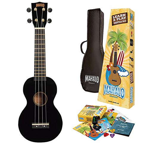 Mahalo Ukuleles Rainbow Series, 4-String Ukulele, Right, Black, Soprano (MR1BKK)