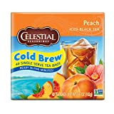 Celestial Seasonings Cool Brew Iced Tea, Peach, 40 Count Box (Pack of 6)