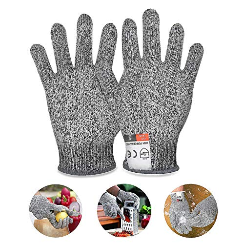 Schnittfeste Handschuhe, Jolintek Schnittsichere Handschuhe für Kinder, schnittschutzhandschuhe küche mit Hoher Schnittschutz der Leistungsstufe 5 für 8-12 Jährige, lebensmittelecht, Grau (XXS)