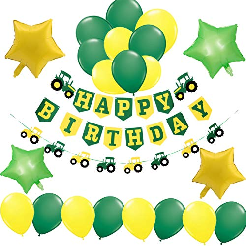 Farm Tractor John Deere Theme Party Decorations-1 Happy Birthday Banner, 1 Tractor Garland,4 Green and Yellow Mylar Balloons,16 Latex Balloons-Construction Supplies and Favors for Girls Boys Kids 1st 2nd 3rd 4th Bday Decor