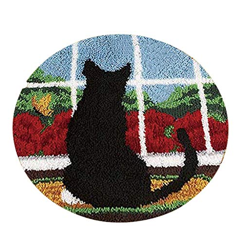 Latch Hook Kits Pattern on Canvas DIY Rug Embroidery Set Crocheting Arts & Crafts for Kids and Adults, Home Decoration (Black cat, 20x20 inch)