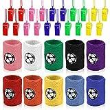 YANSHON 10 x Schweißband Fußball Handgelenksband (10 Farbe) + 10x Pfeife Plastik Whistle Mitgebsel für Sport Fußballgeburtstag Party, Kindergeburtstag