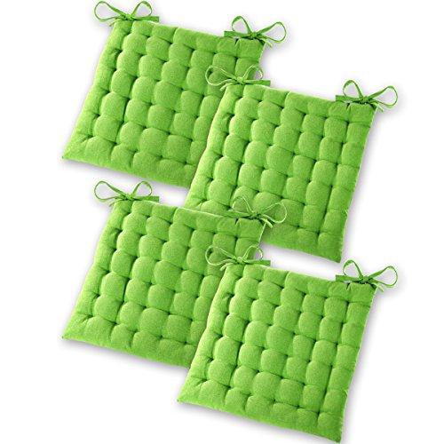 Gräfenstayn® 4er-Set Baumwoll-Sitzkissen 40x40x5cm mit Haltebändern für Indoor und Outdoor mit Öko-Tex Siegel - (Apfelgrün)