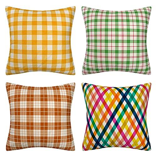 Funda de Cojín 20x20in/50x50cm Juego de 4 Funda de Cojín Funda de Almohada Impresión a doble cara Cuadrado Decorativas Funda de Cojín,para el sofá del dormitorio hogar Decor (Cuadrícula amarilla) G755
